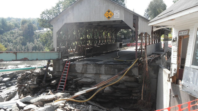 Damage to the Quechee Covered Bridge